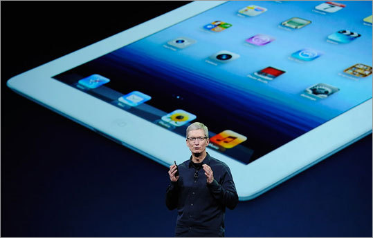 Apple's new iPad model features a sharper screen and a faster processor. Learn more about the features for the device. What do you think about the new iPad? Discuss in our Tech Lab Plus blog. Pictured: Apple chief executive Tim Cook discussed the new iPad.