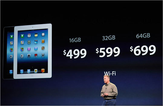 Cost? Wi-Fi-only iPads will cost $499 for 16 GB, $599 for 32 GB, and $699 for 64 GB. 4G models will cost $629 for 16 GB, $729 for 32 GB, and $829 for 64 GB.