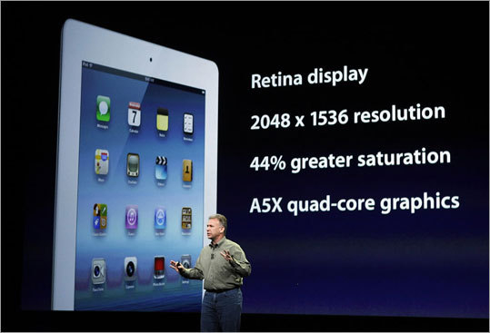 Retina display Apple said the new display will be sharper than the high-definition television set in the living room. The company says it will show more saturated colors than previous models.