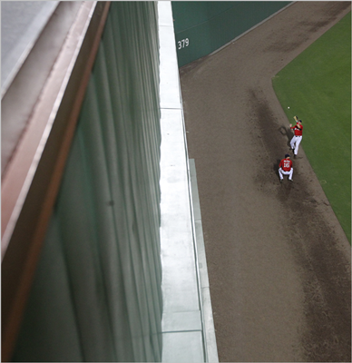 The view from atop the Green Monster at JetBlue Park at Fenway South. The new wall is six feet higher than its Fenway Park counterpart.