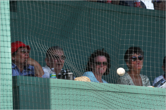 A line drive hit the net in front of the Green Monster seats, and was in play during a game.