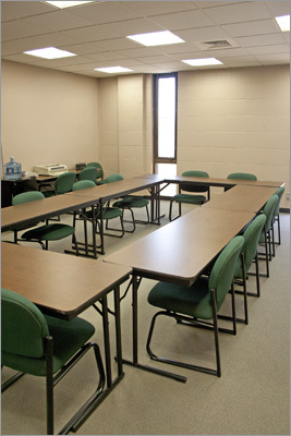 With many services moved into different rooms in the building, police now have a conference room where the records office used to be. During construction, officers and staff worked out of trailers that they joked were better than the un-renovated building.