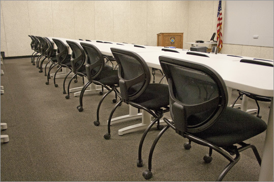 The training room, where police often hold press conferences, has been outfitted with new tables and chairs in addition to the ceiling and vent upgrades.