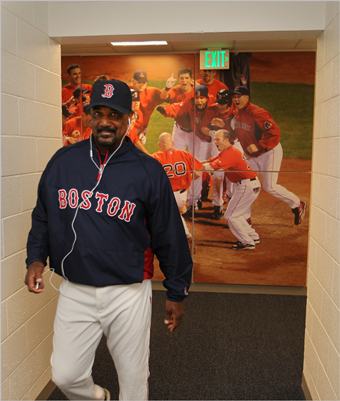Sox Hall of Famer Jim Rice headed for the wall entrance to walk around the track.