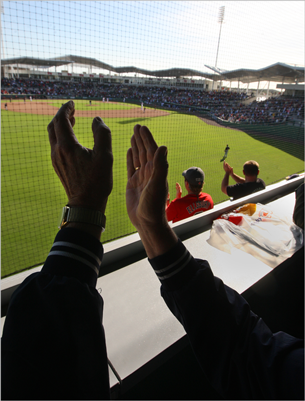 Inside the Green Monster at JetBlue Park at Fenway South, fans applauded a Lars Anderson grand slam during the first Grapefruit League game played, an 8-3 win over the Twins. There are 258 seats inside the Green Monster.