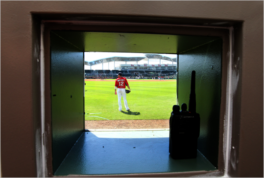 Ryan Sweeney could be seen from the manual scoreboard operator room.