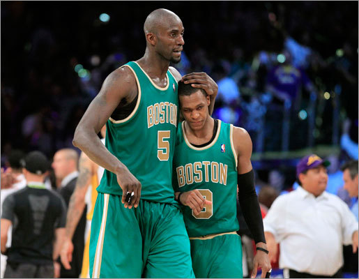 Kevin Garnett (left) embraced Rajon Rondo as the two walked off the court following a 97-94 loss to the Los Angeles Lakers at Staples Center Sunday afternoon. The Celtics lost both games to the Lakers in the season series.