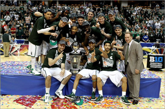 When it comes to close calls, keep conference factor in mind: It was alluded to before, but when it comes to teams that are really tight across all statistical categories, keep in mind that the level of competition can inflate and deflate statistics a bit. For example, Michigan State (pictured) and New Mexico can meet up in the Sweet 16. And it's hard to pick against the Lobos. But even though they match up rather well in terms of stats, the Big 10 is a tougher conference than the Mountain West, giving a slight edge to the Spartans.