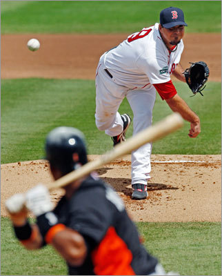 Josh Beckett started for the Red Sox against the Miami Marlins on March 12 and had three strikeouts in four innings. He gave up one run.