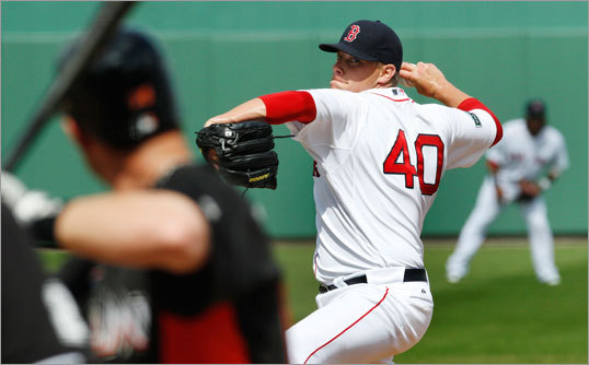 Red Sox pitcher Andrew Bailey -- who should be the team's closer this season -- struggled in this outing, giving up three hits and a run in one inning of work.
