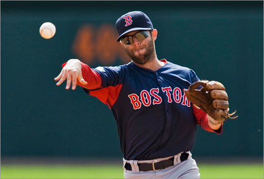Red Sox second baseman Dustin Pedroia threw during workouts before a game against the Baltimore Orioles at Ed Smith Stadium in Sarasota, Fla. on March 11.