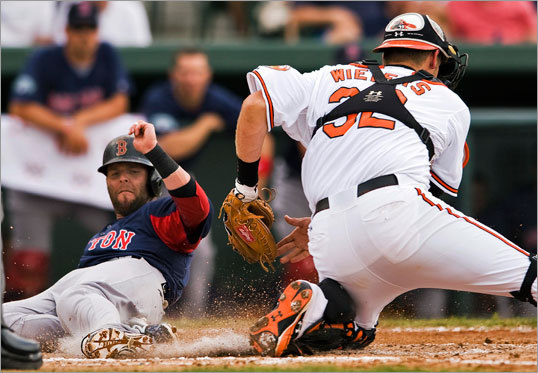 Orioles catcher Matt Wieters tagged out Red Sox baserunner Dustin Pedroia, who was trying to score from second base on Jacoby Ellsbury's single to left field during the second inning of a spring training game at Ed Smith Stadium.