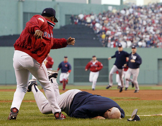 Another famous incident involving Zimmer came when he was the New York Yankees' bench coach, and was thrown to the ground by Pedro Martinez (left) after Roger Clemens threw a high ball to Manny Ramirez in the fourth inning of Game 3 of the American League Championship Series on Oct. 11, 2003. The Yankees won 4-3.