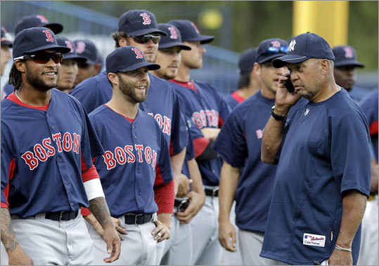 The Red Sox faced the Yankees on Tuesday for the first time this spring, and before the game, Yankees legend Reggie Jackson (right) exchanged phone numbers with Red Sox second baseman Dustin Pedroia. Jackson tested the number to be sure it worked.