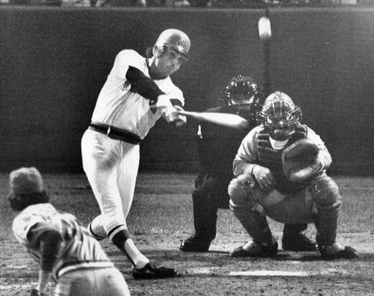 Pinch hitter Bernie Carbo belted a home run into the center field seats to drive in two and tie the sixth game of the World Series in the eighth inning on Oct. 21, 1975.