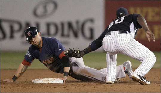 The Red Sox' Josh Kroeger was safe at second base on a fifth-inning steal attempt. Bill Hall was late with the tag.