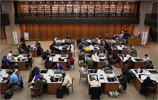 Tech Central at the Boston Public Library was a busy place as the library reopened its doors on March 15.