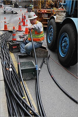 Robert Woodin made splices in temporary high voltage cables on Stuart Street in the Back Bay on March 15.