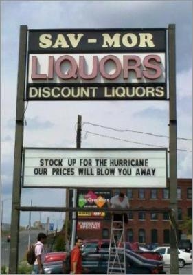 An announcement from Sav-Mor before last year's Hurricane Irene.