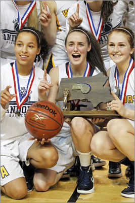 "Div. 1 state final: Andover 61, Holyoke 45 ""It means everything. If we didn't (win), it would have been horrible,"" Andover's Nicole Boudreau said. ""The fact that we came out on top and we three-peated and I'm out of here with the three-peat, there's really nothing better."""