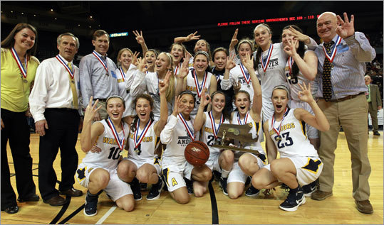 "Div. 1 state final: Andover 61, Holyoke 45 ""I'm just so proud. Three in a row and the icing on the cake is going undefeated,"" Andover coach TJames ildsley said. ""I'm at a loss for words because I'm just so happy for these kids. Nicole is just an incredible, incredible player. The things she does out there that people don't see, she just knows the game. """