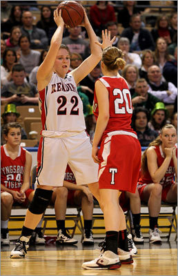 Div. 2 state final: Reading 48, Tyngsboro 27 Reading's Melissa Liaboe (left) looked for a teammate to pass to as she was defended along the sideline.