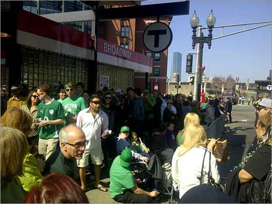 The Broadway MBTA stop got very crowded.