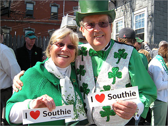 Karen and Sid Tracey show their Southie and Irish pride on K Street while waiting for the parade.