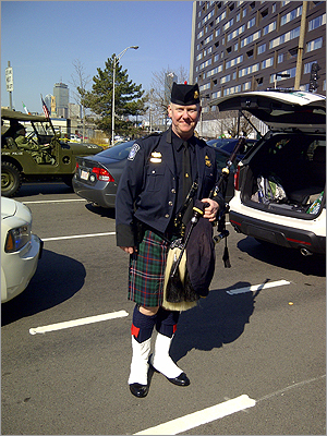 David Barrett from Customs and Boarder patrol with his bag pipes