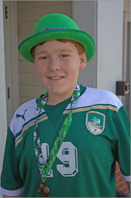 Joe Thorton, 12, from Scituate, wore green to celebrate the holiday.