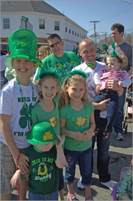The Potts and O'Shaughnessy's, from Scituate and New Hampshire, gathered together to watch the parade.