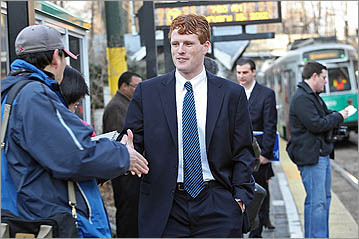 Joe Kennedy III greeted commuters and supporters in Newton shortly after launching his campaign for Congress in February.