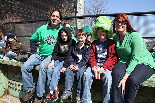 The Menounous family, Peter (from left), Stephenous, Christina, Anthony, and Cathryn came to watch the parade from Connecticut.