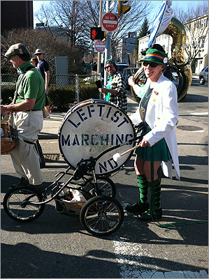 A drummer from the Leftist Marching Band played 'When the Saints Come Marching In' at the start of the parade.