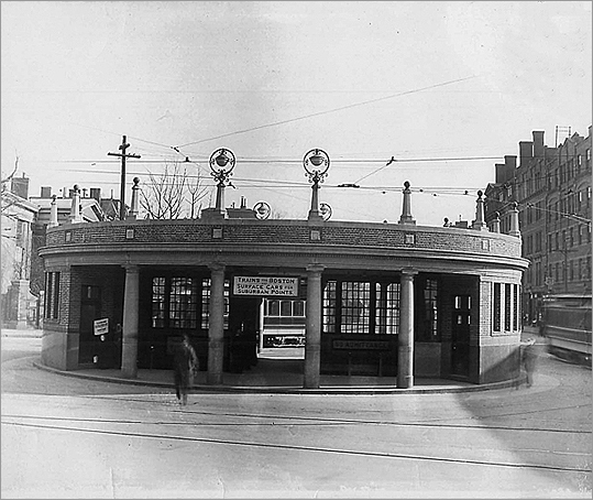 Mrs. Mary Collett of Revere Street in Cambridge was the first in line on March 23, 1912. Three trains were brought to the station at 5:10 a.m., but a fourth was added when officials saw the size of the crowd. Passengers were allowed into the station at 5:20 a.m. The Harvard Square entrance kiosk is pictured in 1912 where the Out of Town News store currently stands.