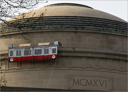 Pranksters at the Massachusetts Institute of Technology placed a replica of the MBTA's Red Line car on the Great Dome at MIT in 2009.