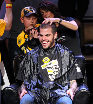 Nathan Horton, who has missed most of the season with a concussion, still took time out to be with his teammates, get a haircut and support the cause.