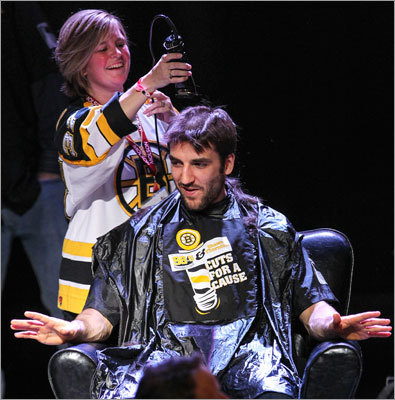 Patrice Bergeron signaled that the haircut was probably fine the way it was, but the cutting continued, anyway.
