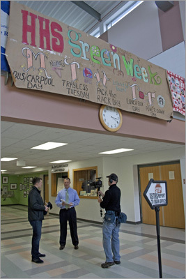 Ference and Assistant Principal Rick Swanson stand under the Green Week banner at Hingham High. Although Hingham is continually involved in green activities - building a greenhouse, composting in the lunchroom, recycling sports equipment, shoes, and bottles - this week is especially focused on different green initiatives. Like the expansion of green initiatives at Hingham High, Ference hopes to continue to expand his green impact, perhaps eventually moving his green goals to other sports.