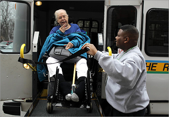 The Ride fare increases Inner core territory: From $2 to $4 Premium territory in outlying suburbs: New, will be $5. Penelope Ann Shaw is pictured boarding the MBTA's Ride paratransit service with the help of driver Anthony Griffin from her nursing home in Braintree.