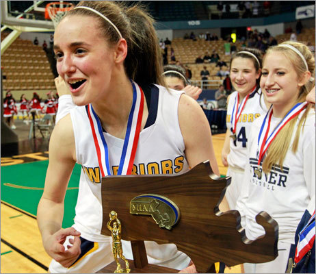 A fitting end to Boudreau's career She finished her career as one of the greatest basketball players in state history. And when Andover won its third straight state title, Nicole Boudreau led the way with 31 points, giving her a career total of 2,200. 'Nicole is just an incredible, incredible player,' said coach Jim Tilsdley. 'The things she does out there that people don't see, she just knows the game.' A humbled Boudreau seemed overwhelmed by teh moment after the Golden Warriors beat Holyoke at the DCU Center. 'I'm honored to have worn an Andover uniform and hopefully represented it pretty well.' What do you think? I'd say she has.