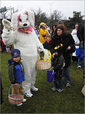 The Easter bunny even made an appearance to give candy to the children.