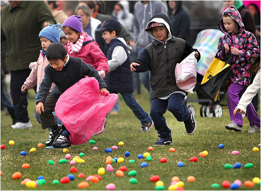 During the 20th Annual Spring Egg Hunt on Saturday morning, children hunted for 5,000 eggs. Employees from Phillips Candy House hid the multicolored plastic eggs in Pope John Paul II Park in Dorchester. Click through to see scenes from the event.