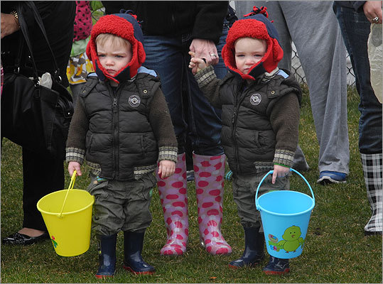 Two-year-old twins Darragh and Ryan, of Quincy, waited patiently for the egg hunt to begin.