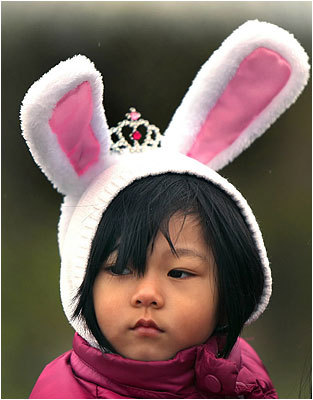 Vanessa, 3, of Malden, wore bunny ears to show her Easter spirit.