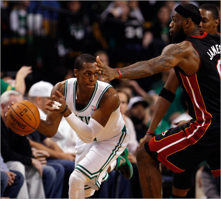 Celtics point guard Rajon Rondo had a triple-double of 16 points, 14 assists, and 11 rebounds as the Celtics surprised by Miami Heat by blowing them out in the second half at TD Garden.
