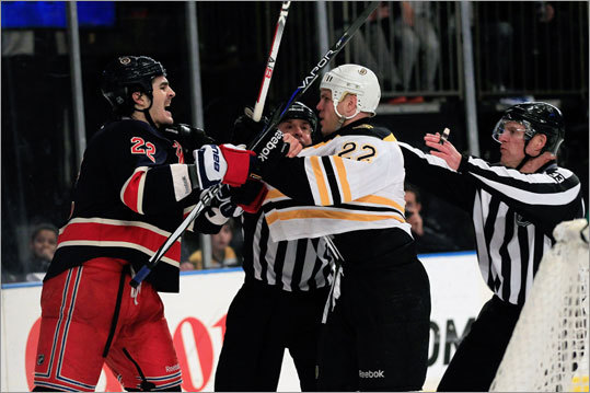 The Rangers' Brian Boyle and the Bruins' Shawn Thornton had to be restrained by the referees.