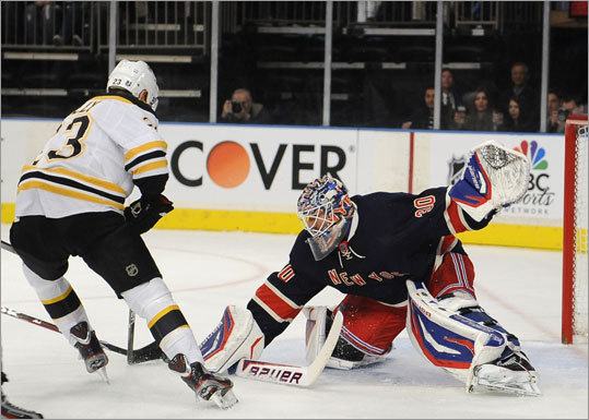 Rangers goalie Henrik Lundqvist stopped the Bruins' Chris Kelly in the first period.