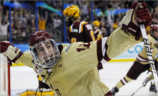 Boston College's Kevin Hayes scored in the second period to put the Eagles up 2-0. Hayes was assisted by Tommy Cross and Steven Whitney.