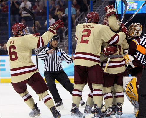 Boston College got off to a fast start in the second semifinal of the Frozen Four. BC took a 1-0 lead in the first period despite being outshot 10-5.